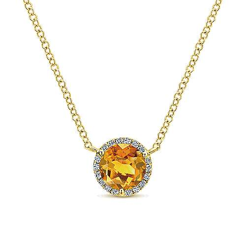 14K Yellow Gold Round Halo Citrine and Diamond Pendant Necklace