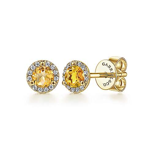 14K Yellow Gold Round Halo Citrine and Diamond Stud Earrings