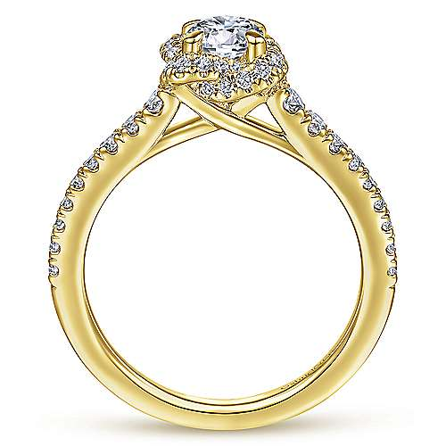 14K Yellow Gold Round Halo Complete Diamond Engagement Ring
