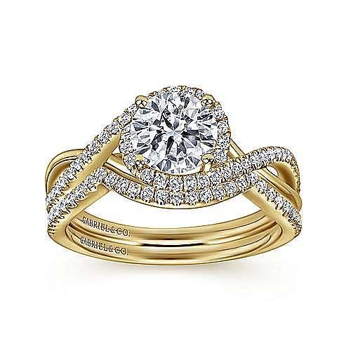 14K Yellow Gold Round Halo Diamond Engagement Ring