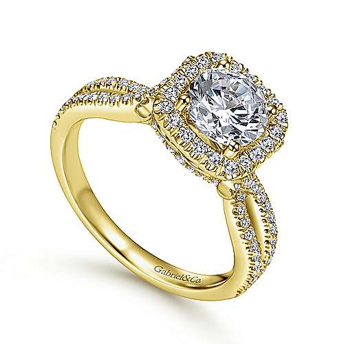 14K Yellow Gold Round Halo Diamond Engagement Ring