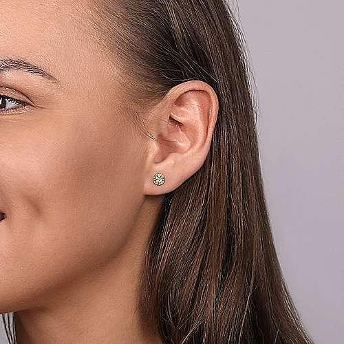 14K Yellow Gold Round Halo Lemon Quartz and Diamond Stud Earrings