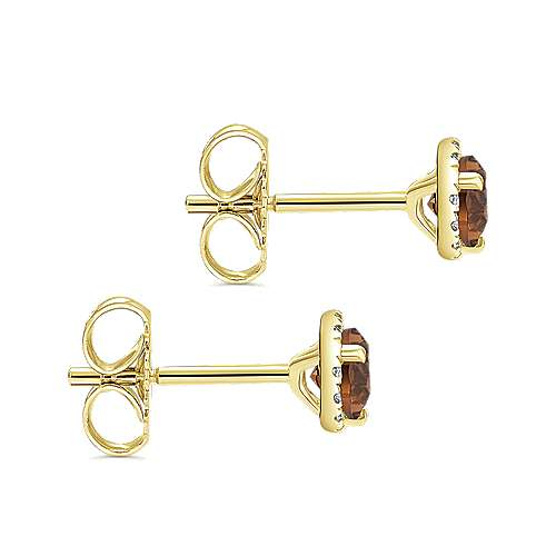 14K Yellow Gold Round Halo Smoky Quartz and Diamond Stud Earrings
