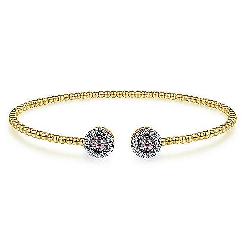 14K Yellow Gold Round Manmade Alexandrite and Diamond Halo Bujukan Bangle