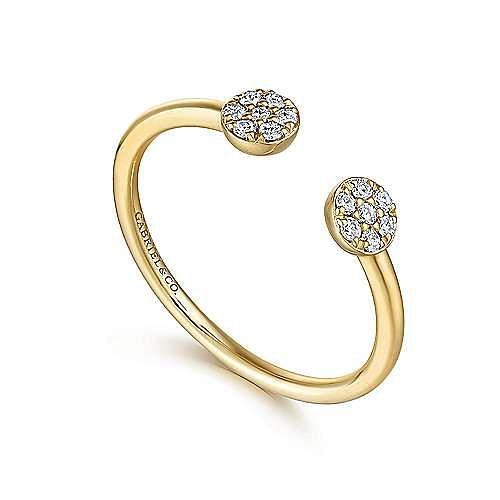 14K Yellow Gold Round Pavé Diamond Cluster Split Ring