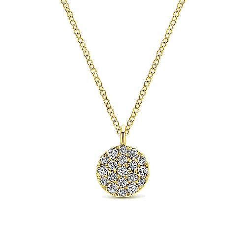 14K Yellow Gold Round Pavé Diamond Disc Pendant Necklace