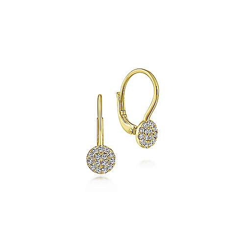 14K Yellow Gold Round Pavé Diamond Drop Earrings