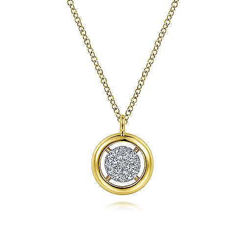 14K Yellow Gold Round Pavé Diamond Floating Pendant Necklace with Wide Border