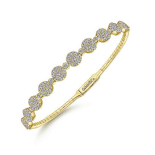 14K Yellow Gold Round Pavé Diamond Station Bangle