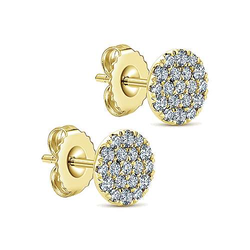 14K Yellow Gold Round Pavé Diamond Stud Earrings