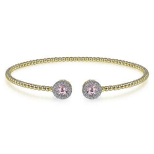 14K Yellow Gold Round Pink Created Zircon and Diamond Halo Bujukan Bangle