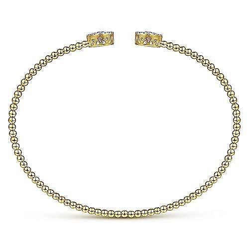 14K Yellow Gold Round Pink Zircon and Diamond Halo Bujukan Bangle