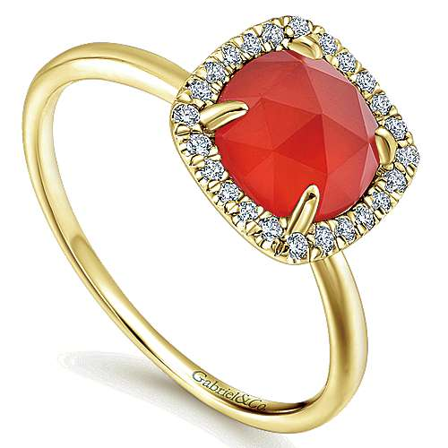 14K Yellow Gold Round Rock Crystal/Red Onyx Cushion Diamond Halo Ring