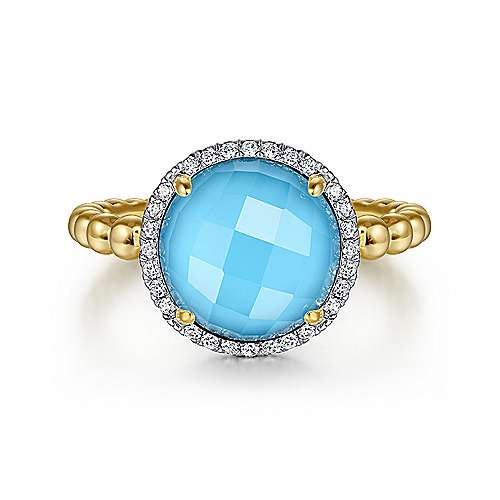 14K Yellow Gold Round Rock Crystal/Turquoise and Diamond Halo Ring