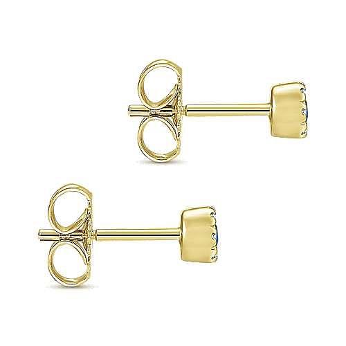 14K Yellow Gold Round Sapphire Diamond Halo Stud Earrings