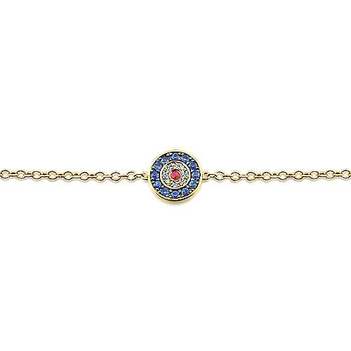 14K Yellow Gold Round Sapphire, Diamond and Ruby Evil Eye Bracelet