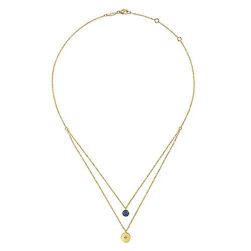 14K Yellow Gold Round Sapphire Pavé and Diamond Disc Necklace
