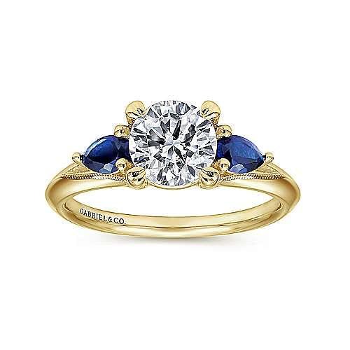 14K Yellow Gold Round Sapphire and Diamond Engagement Ring