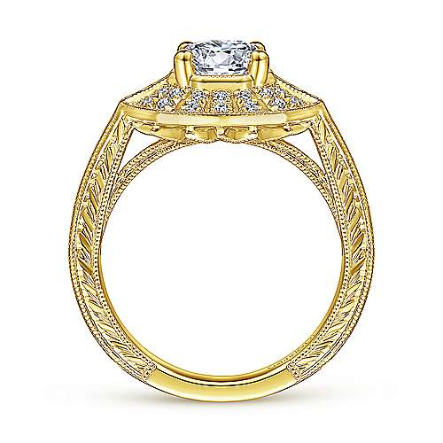14K Yellow Gold Round Sapphire and Diamond Engagement Ring