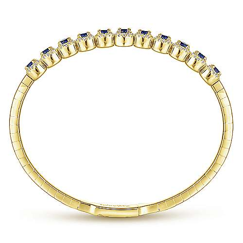 14K Yellow Gold Round Sapphire and Diamond Halo Bangle