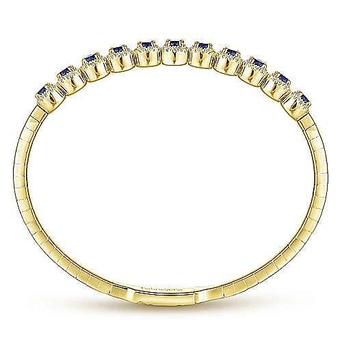 14K Yellow Gold Round Sapphire and Diamond Halo Bangle