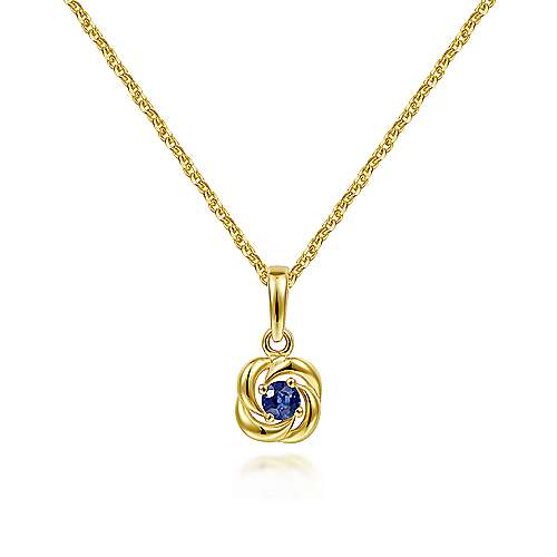 14K Yellow Gold Round Sapphire with Twisted Metal Frame Pendant Necklace