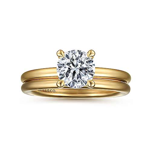 14K Yellow Gold Round Solitaire Engagement Ring
