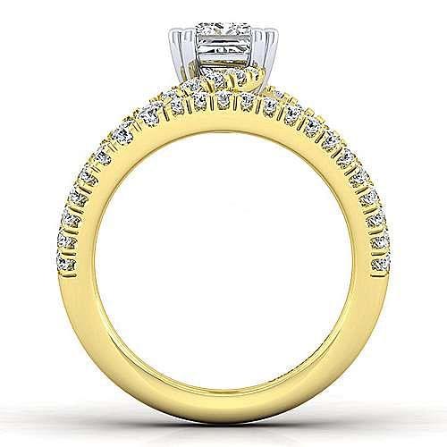 14K Yellow Gold Round Split Shank Diamond Engagement Ring