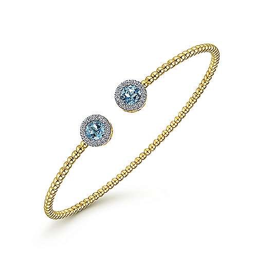 14K Yellow Gold Round Swiss Blue Topaz and Diamond Halo Bujukan Bangle