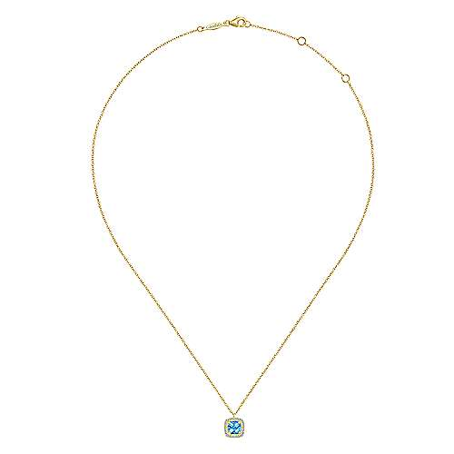 14K Yellow Gold Round Swiss Blue Topaz and Diamond Halo Pendant Necklace
