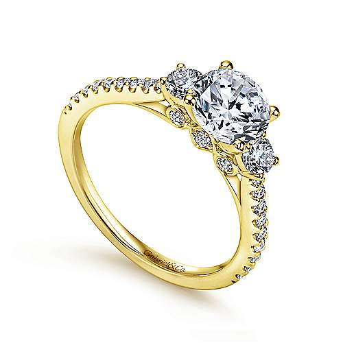 14K Yellow Gold Round Three Stone Diamond Engagement Ring