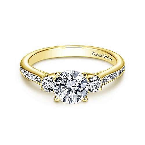 14K Yellow Gold Round Three Stone Diamond Engagement Ring