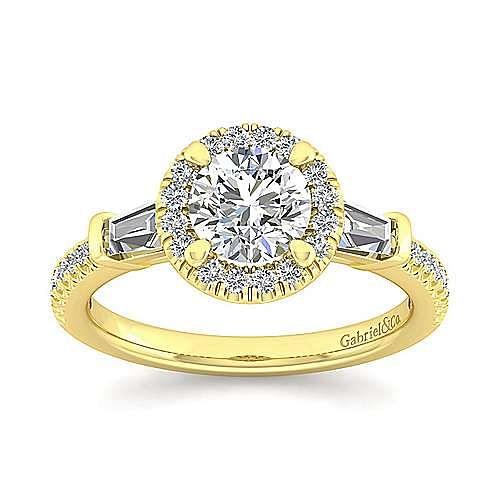 14K Yellow Gold Round Three Stone Halo Diamond Engagement Ring