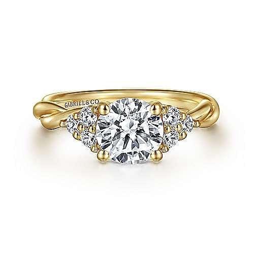 14K Yellow Gold Round Twisted Diamond Engagement Ring