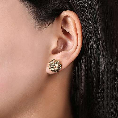14K Yellow Gold Round Twisted Rope Stud Earrings
