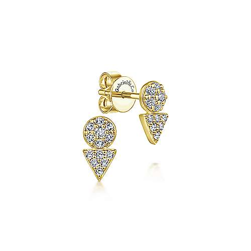 14K Yellow Gold Round and Triangle Cluster Diamond Stud Earrings