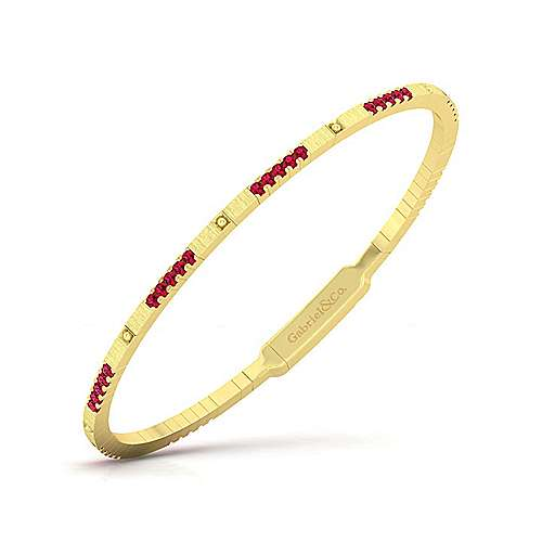 14K Yellow Gold Ruby Bangle