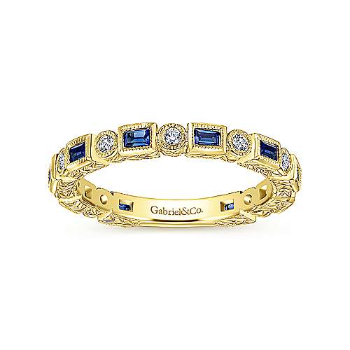 14K Yellow Gold Sapphire Baguette and Round Diamond Eternity Ring