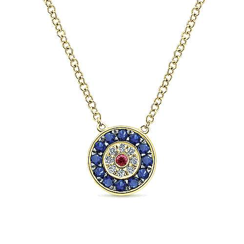 14K Yellow Gold Sapphire, Ruby and Diamond Evil Eye Pendant Necklace
