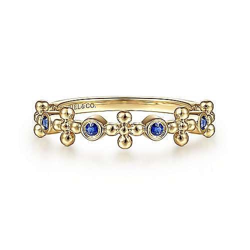 14K Yellow Gold Sapphire and Bujukan Bead Station Ring