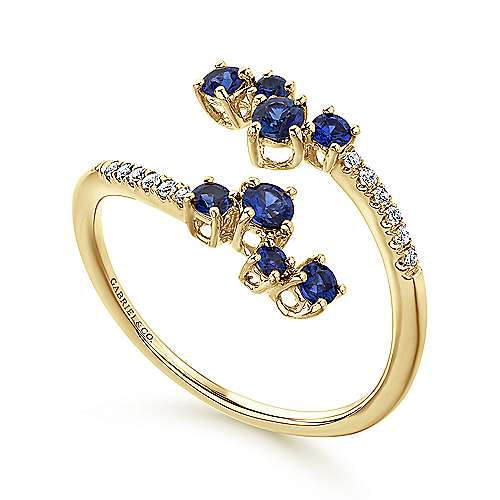 14K Yellow Gold Sapphire and Diamond Open Wrap Ring