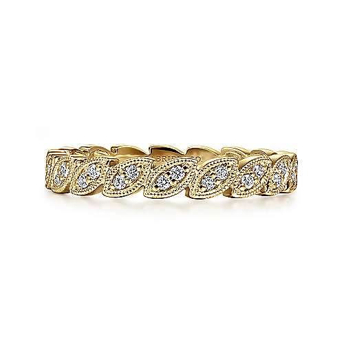 14K Yellow Gold Scalloped Marquise Stackable Diamond Ring