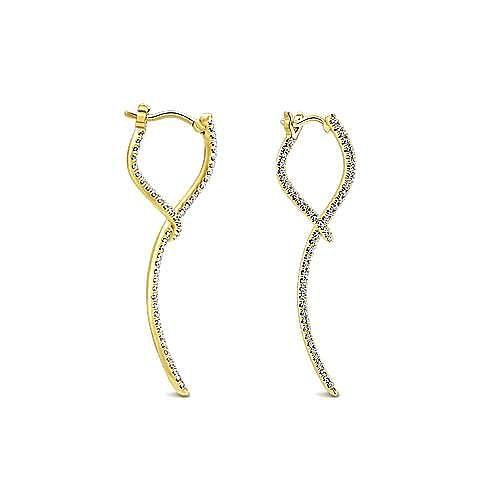 14K Yellow Gold Sculptural Diamond Drop Earrings