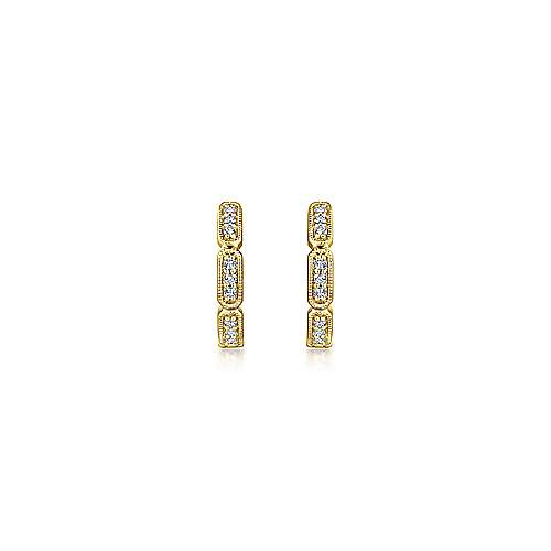 14K Yellow Gold Segmented 10mm Diamond Huggies