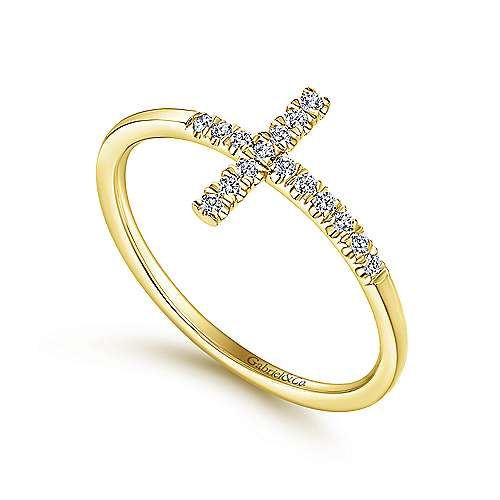 14K Yellow Gold Sideways Cross Diamond Ring