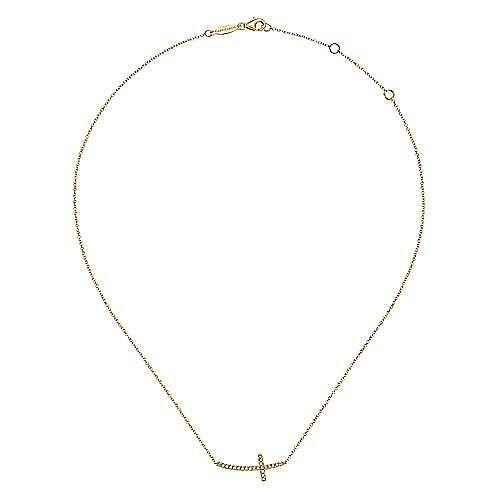 14K Yellow Gold Sideways Curved Diamond Cross Necklace
