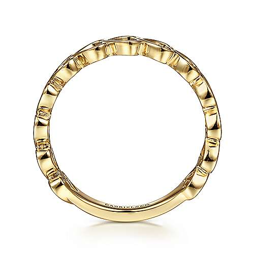 14K Yellow Gold Sideways Heart Stackable Ring