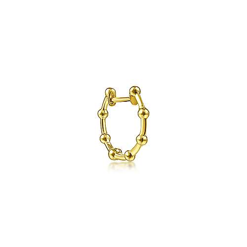 14K Yellow Gold Single Ball Station Huggie Earring