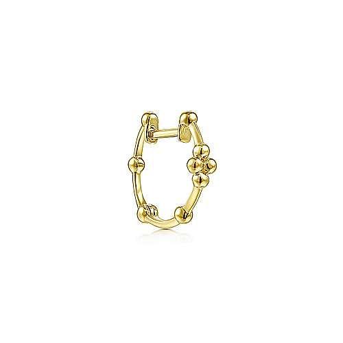 14K Yellow Gold Single Ball Station Huggie Earring