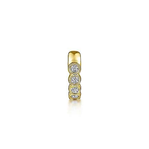 14K Yellow Gold Single Round Bezel Diamond Ear Cuff Earring